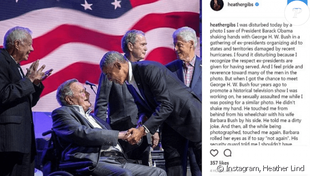 Le post initial d'Heather Lind dans lequel elle accuse l'ancien président George HW Bush d'agression sexuelle, dépuis surprimé d'Instagram, octobre 2017.
