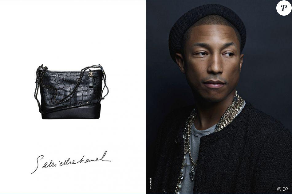"""Le sac """"Gabrielle"""" de Chanel, et son égérie Pharrell Williams photographiée par Karl Lagerfeld."""