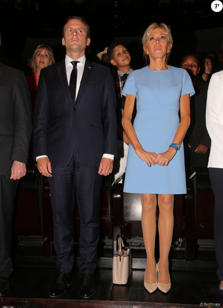 Le Président de la République Française, Emmanuel Macron et sa femme la Première dame Brigitte Macron (Trogneux) - Le président de la République française et son homologue colombien lancent conjointement la saison de la Colombie en France avec un concert binational à la Philharmonie de Paris, France, le 23 juin 2017. © Sergi/Pool/Bestimage