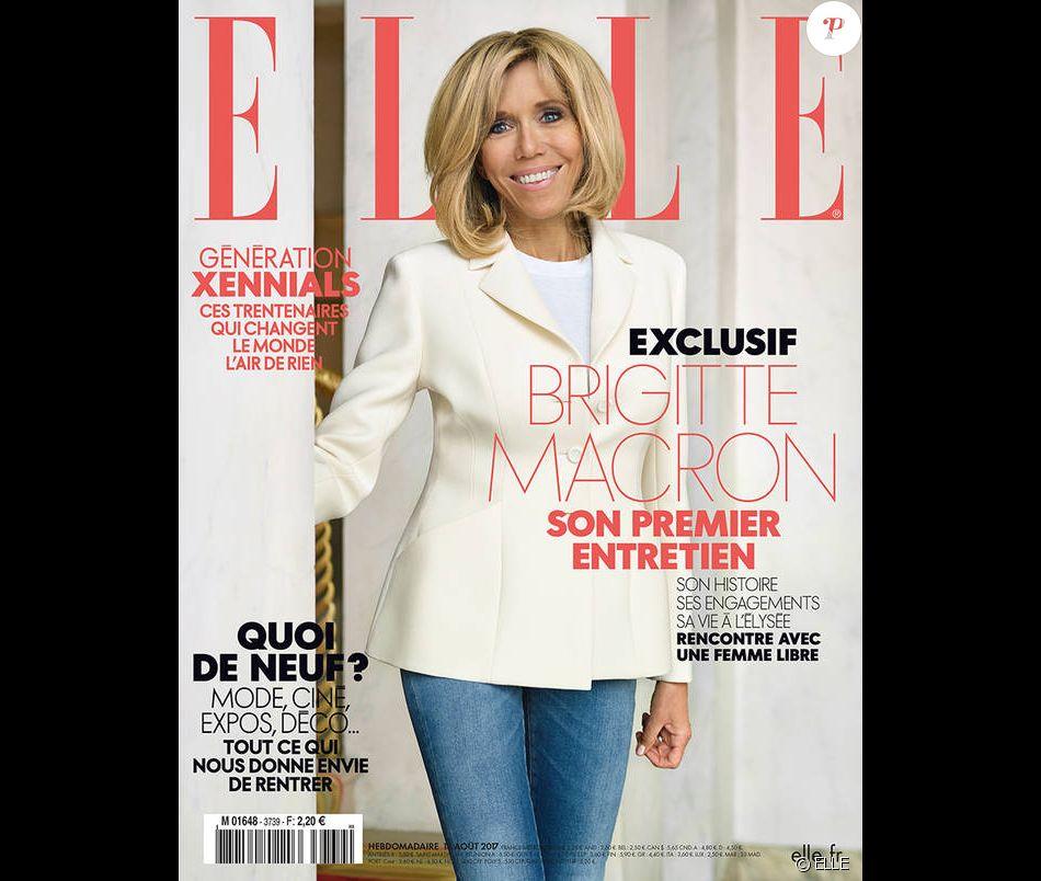 Brigitte Macron en couverture de ELLE, en kiosques le 18 août 2017.