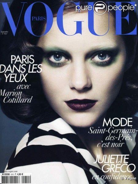 Marion Cotillard en Une de numéro de septembre de Vogue.