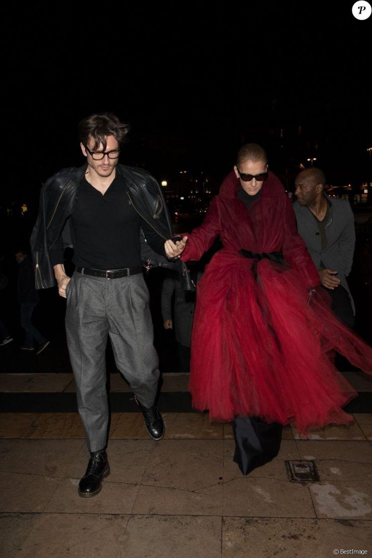 Semi-exclusif - Céline Dion et Pepe Munoz arrivent au restaurant Girafe à Paris, France, le 27 janvier 2019.