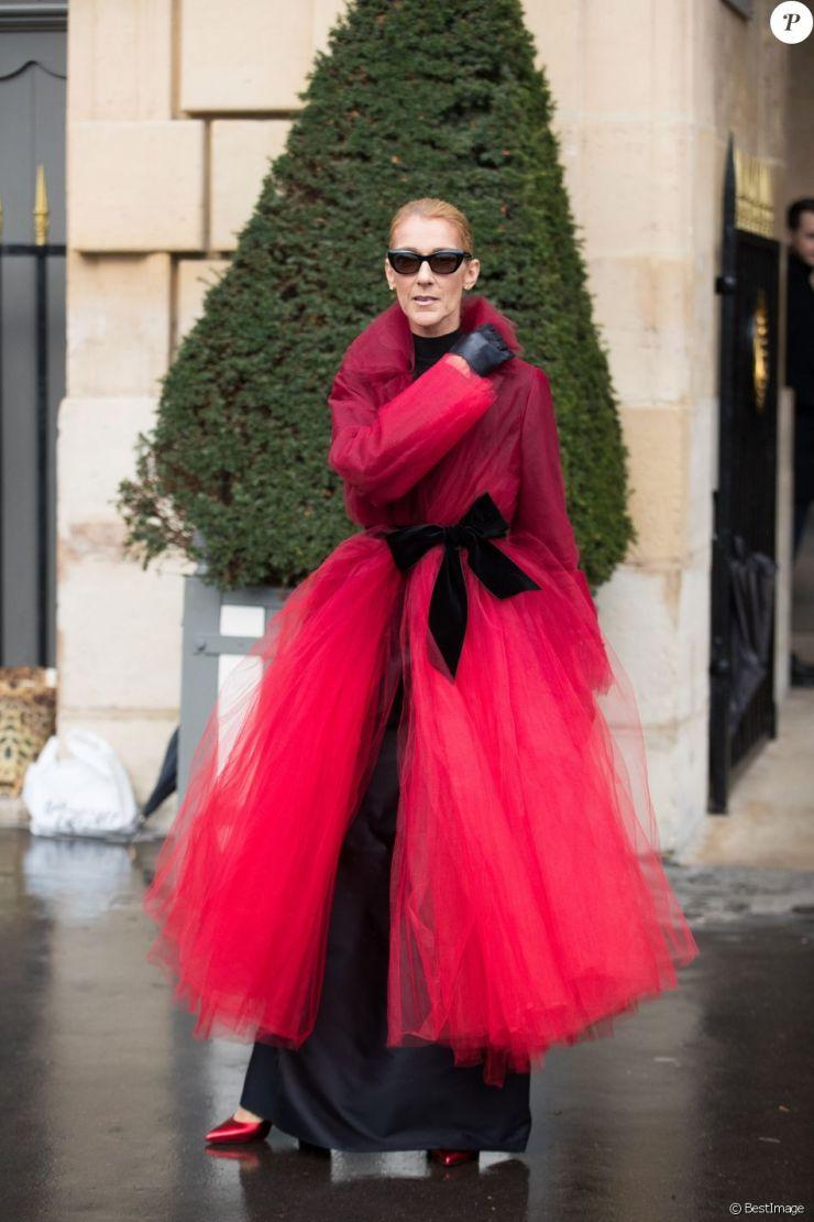 Céline Dion et son ami Pepe Munoz à la sortie de l'hotel Crillon, à Paris, se rendent au théâtre Mogador le 27 Janvier 2019