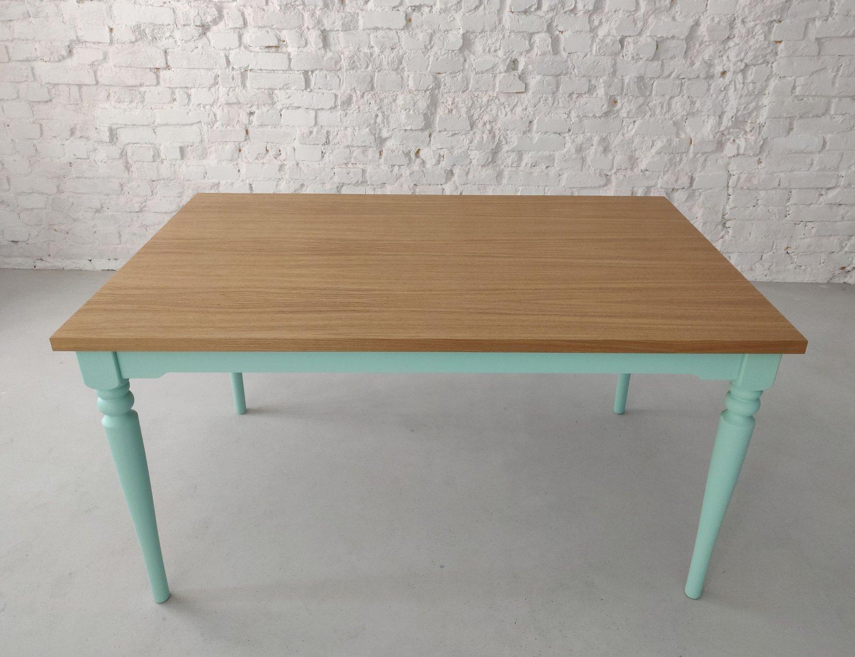nata oak dining table 140x90cm mint base