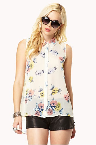 Forever21-Sleeveless-Floral-Georgette-Shirt_$15