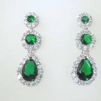 Cluster Drop Earrings in Emerald Heavenly Necklaces - Faux ...