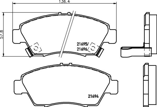 8DB 355 016-461 FRONT DISC PAD SET FRONT WITH ACOUSTIC