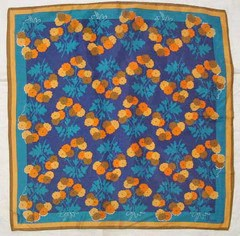 Vintage Vera Blue and Gold Scarf