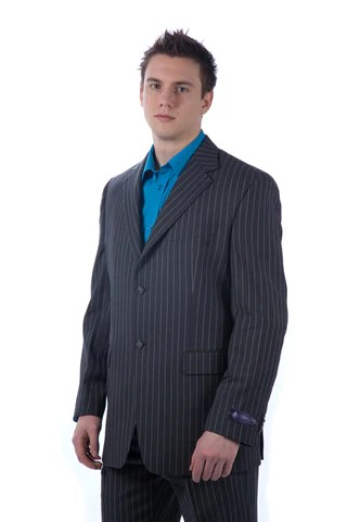 sean john charcoal pin stripe suit