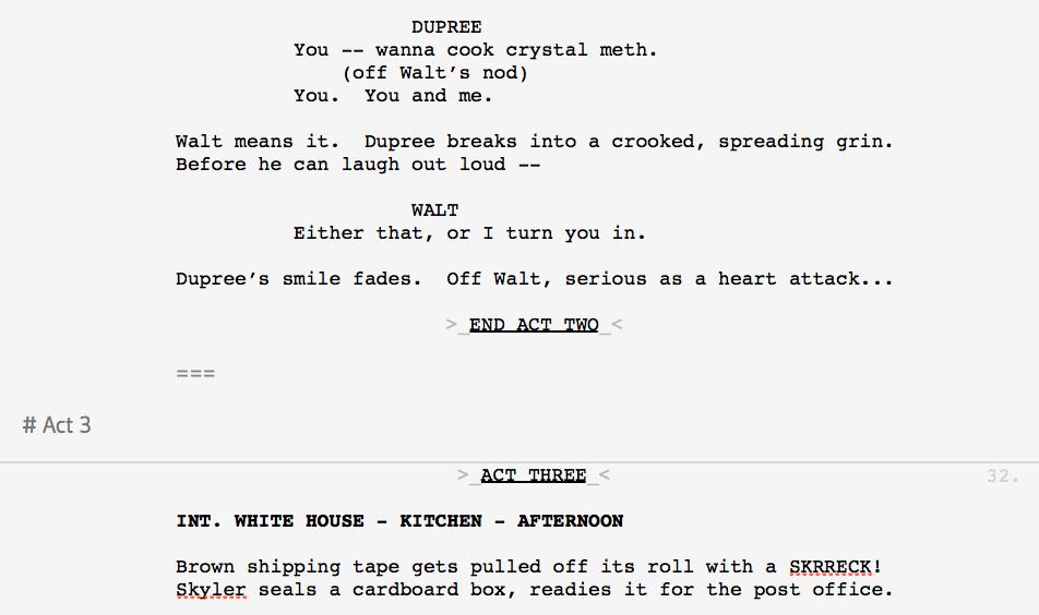How can I make act breaks in a TV script? — Slugline ...