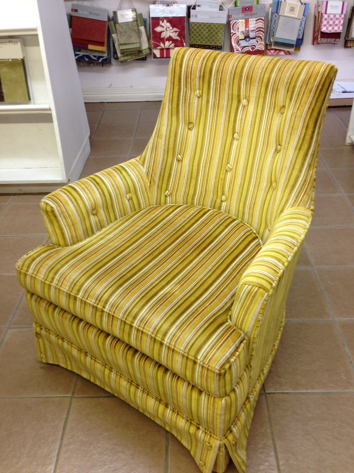 Moms 70s Gold Chair Is Staying Alive wa Reupholstered