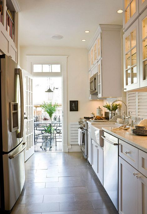 kitchen tile floor ikea designs which direction should you run your flooring well designed galley to the designer paul corrie