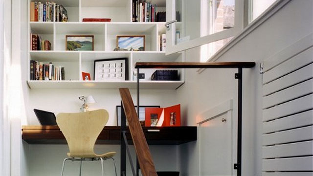 small office at the top of the stairs