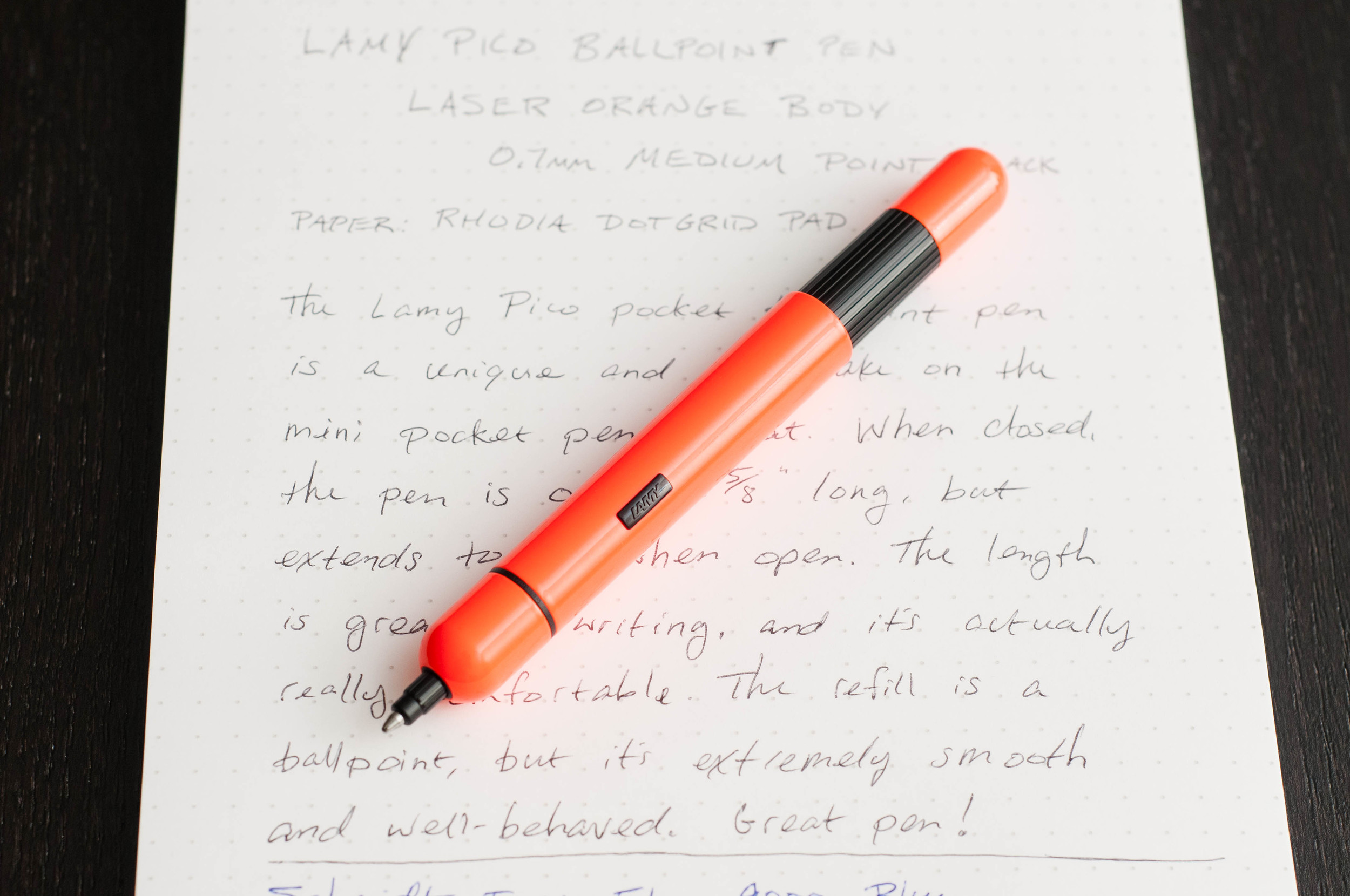 Lamy Pico Laser Orange Pocket Ballpoint Pen Review — The Pen Addict