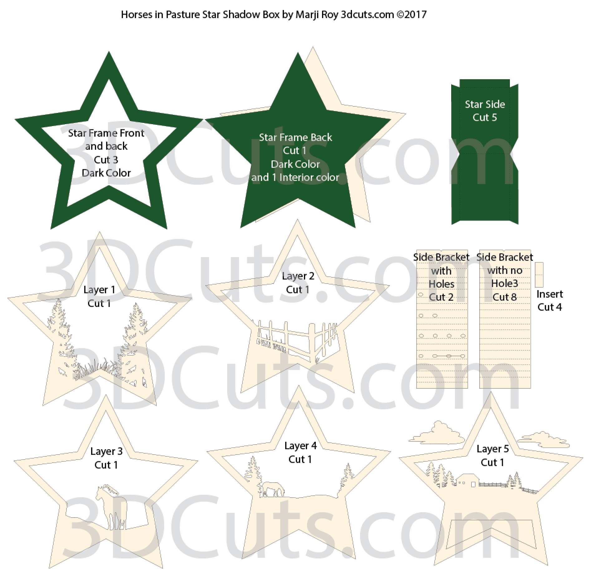 hight resolution of 3d star nativity shadow box cutting files in svg pdf png and dxf