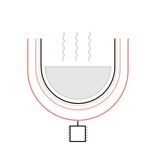 small resolution of magnetic coils are used to pass current into the cooking pan allowing a constant temperature to be given throughout the rice