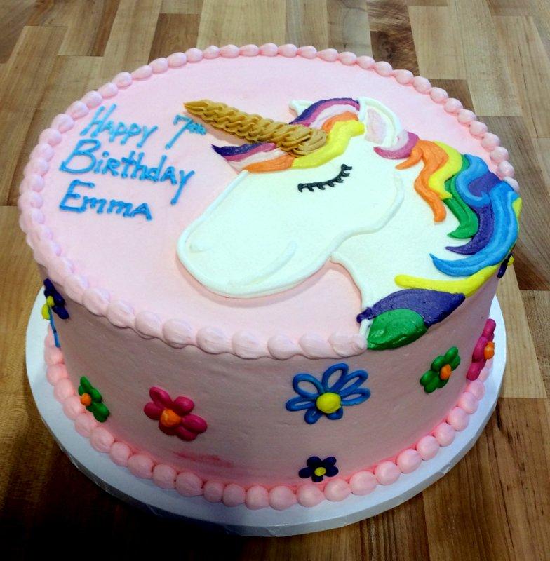 Magical Unicorn Round Pink Cake with Daisies  Trefzgers Bakery