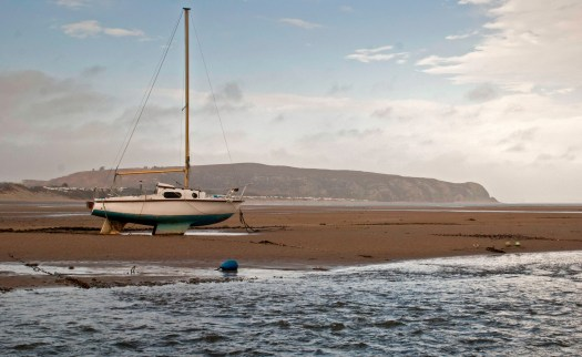 Yacht on Abersoch Beach
