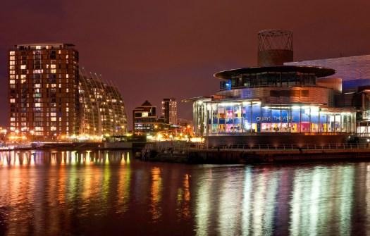 Quays Theatre at Night Salford