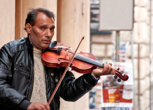Violin Playing Busker in Rome Italy