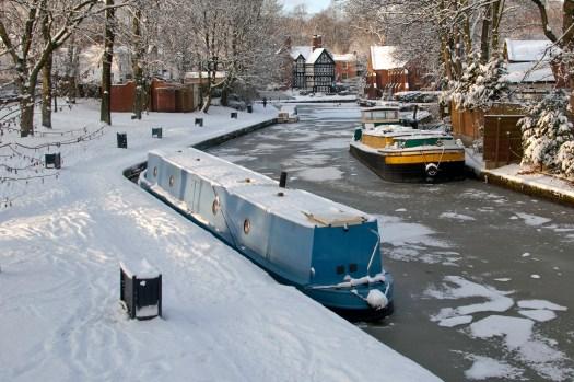 Frozen Bridgewater Canal at Worsley Manchester