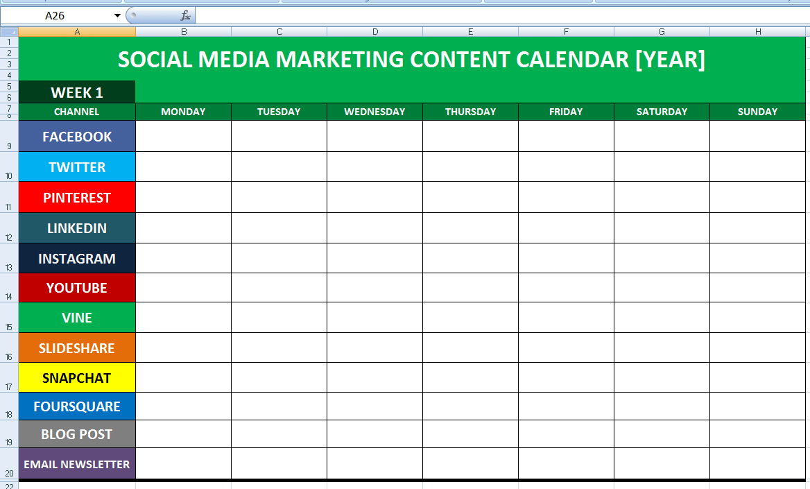Social Media Calender Template Excel 2014 | Editorial Planner for ...