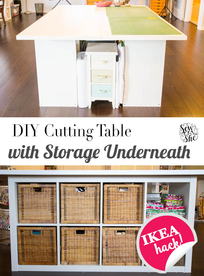 Sewing Table Plans Free : sewing, table, plans, Sewing, Cutting, Table, Storage, Cubbies, Underneath!, SewCanShe, Patterns, Tutorials