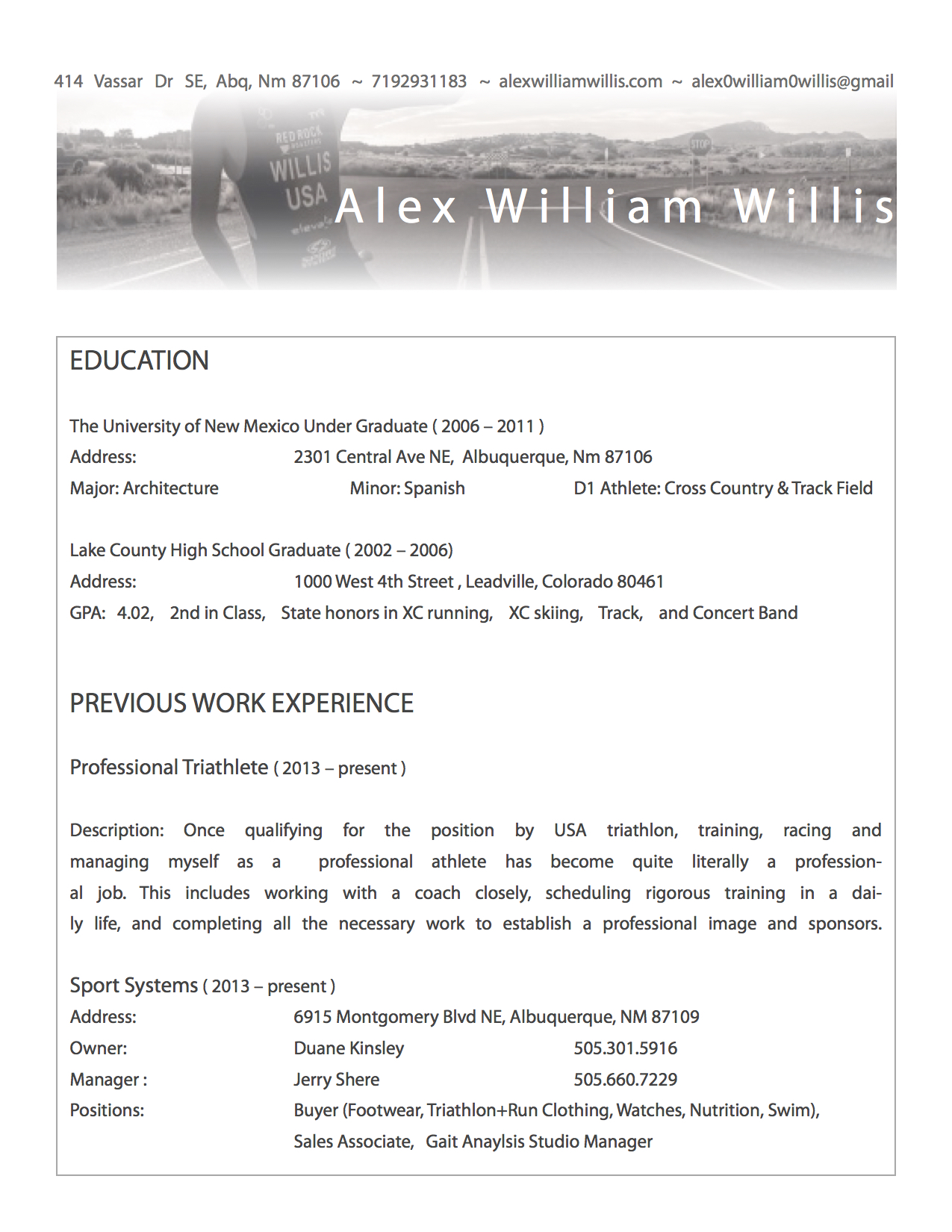 Resume template professional athlete