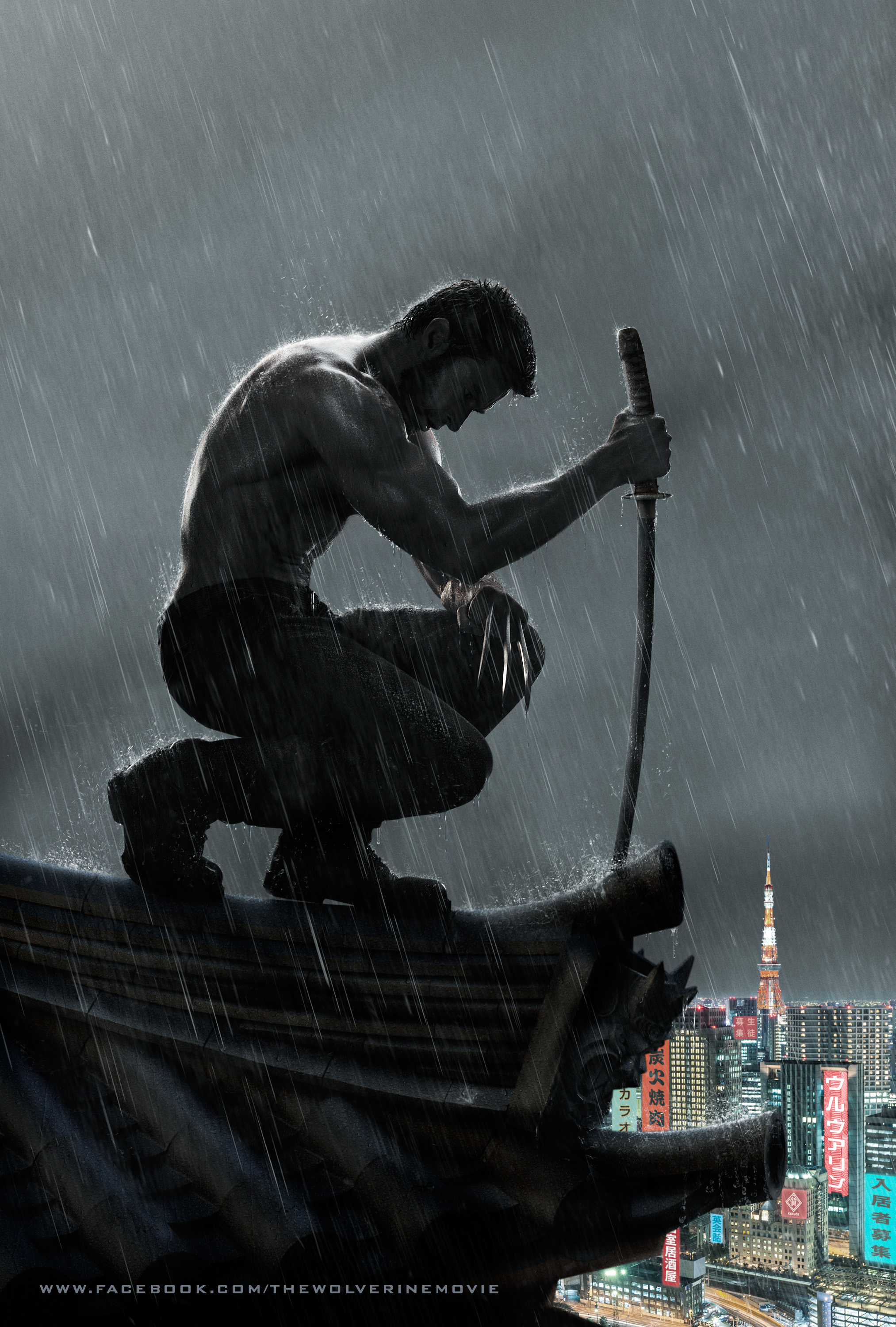 The Wolverine likes to stand in the rain.