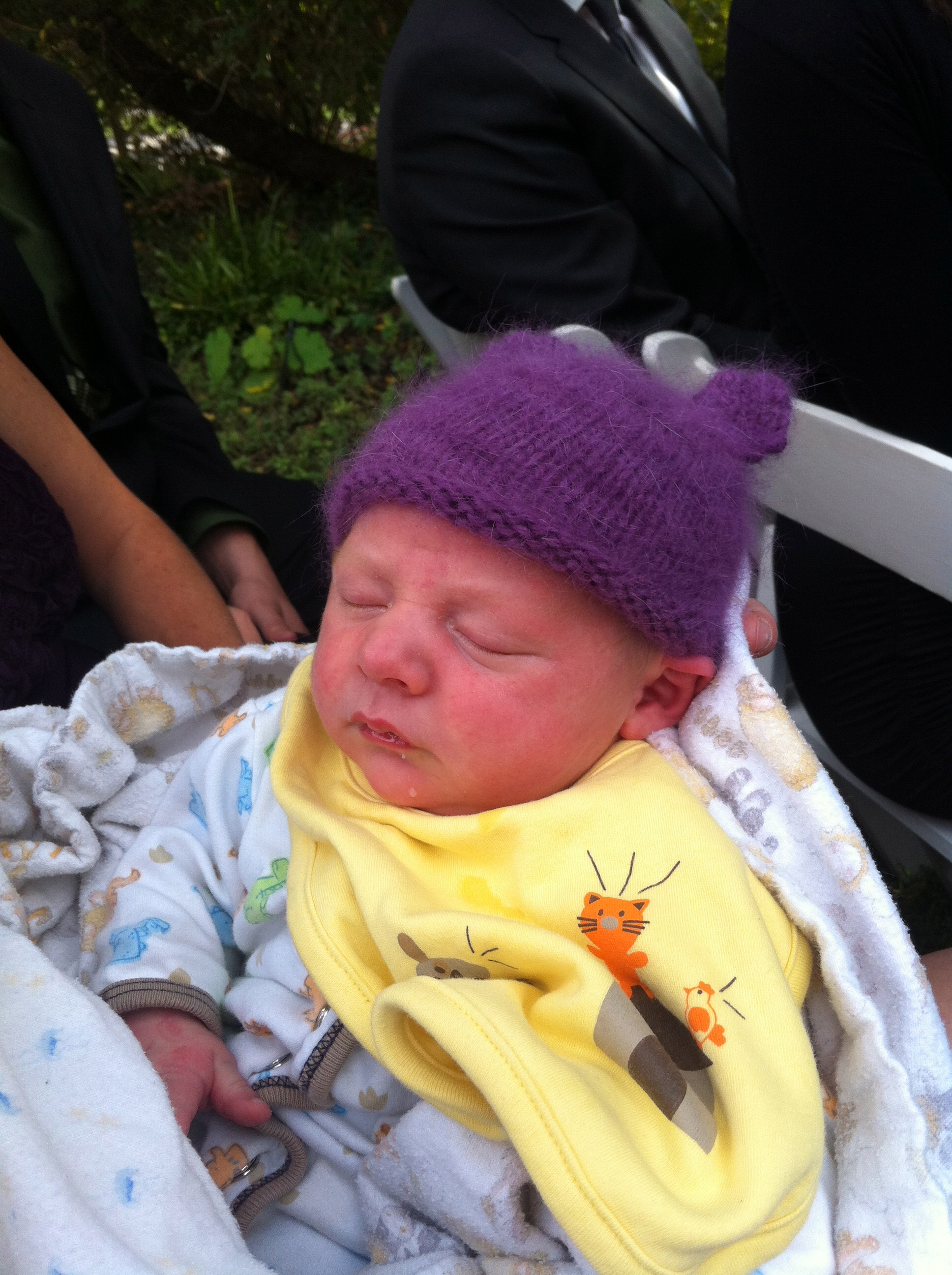 One of the only pictures of a baby in one of my knits. Little Trent didn't even keep this one as it was almost too small for his head.