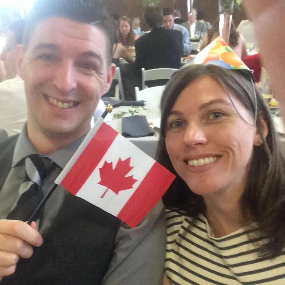 Canadians represent at the wedding.