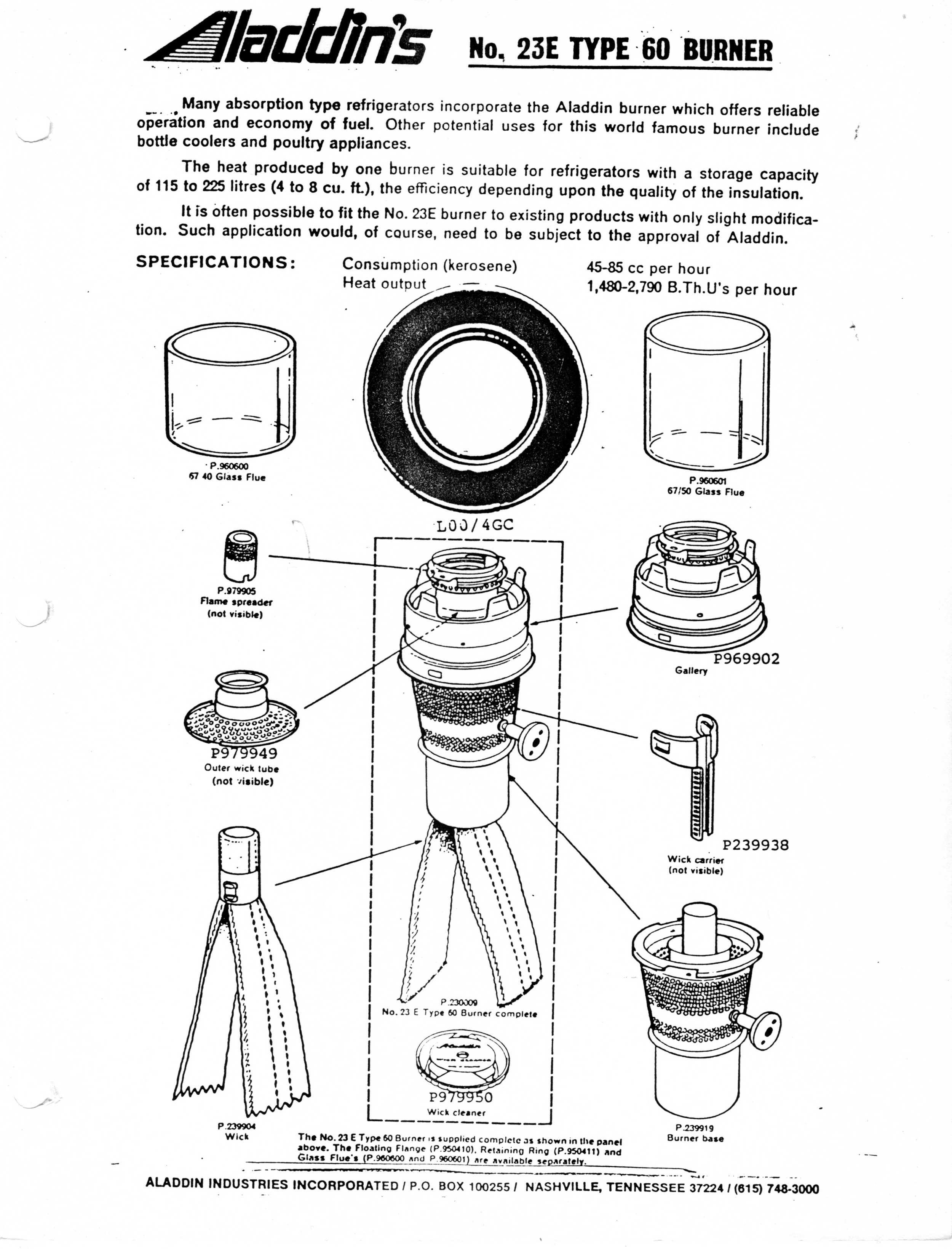 Parts for kerosene refrigerators — Antique Kerosene Lighting