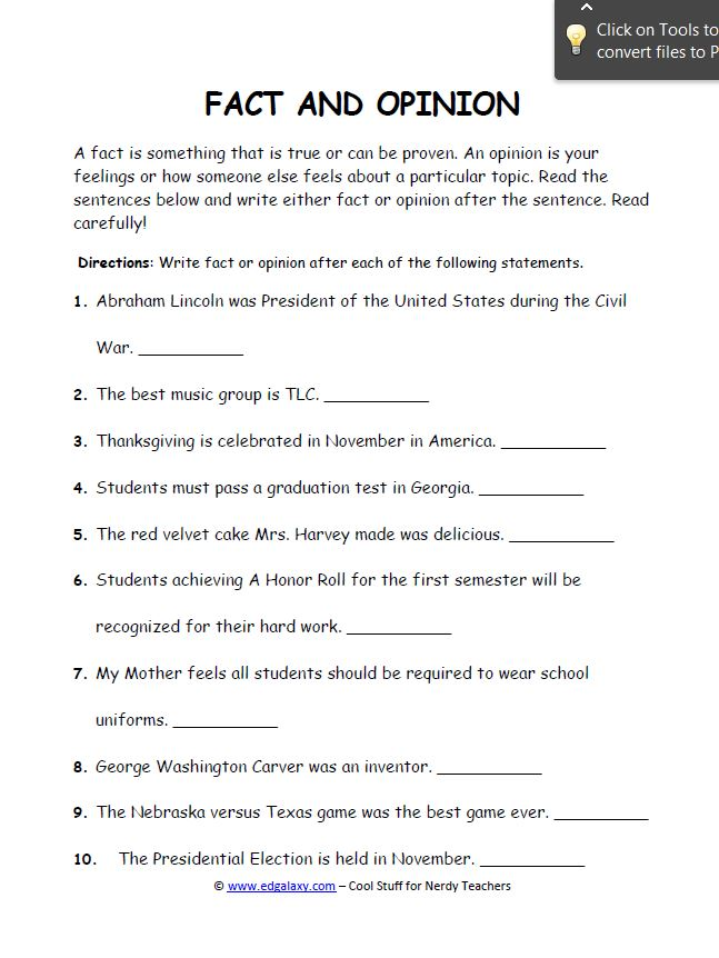 Fact And Opinion Worksheets For Students