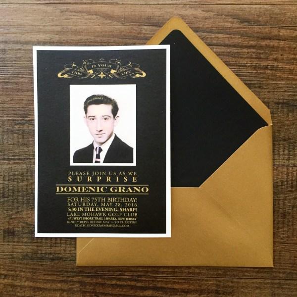 Surprise 75th Birthday Invitations