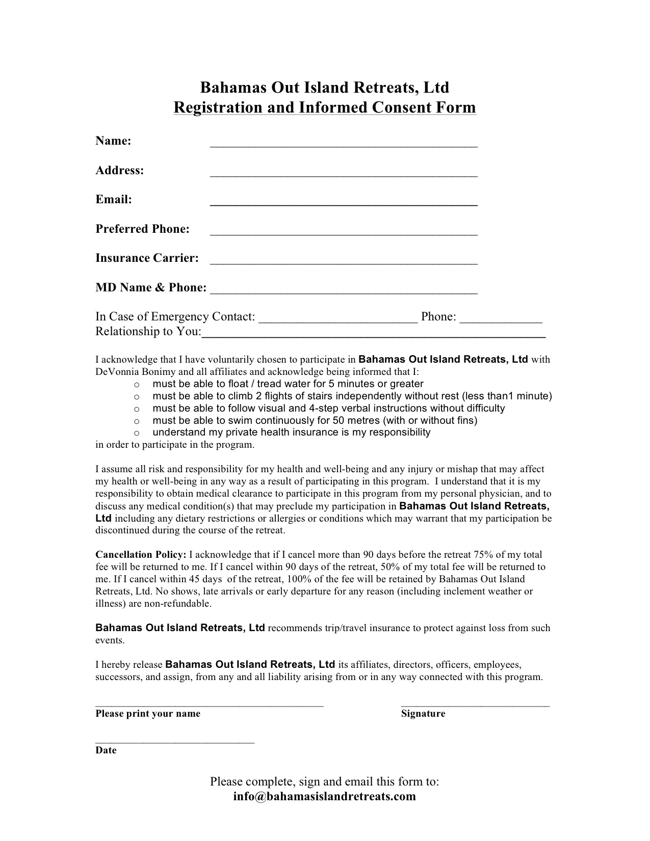 Consent Form — Bahamas Out Island Retreats