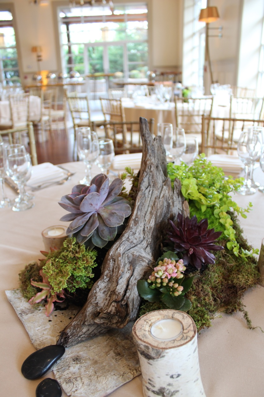 Succulent Wedding Decor At The Stone House At Stirling