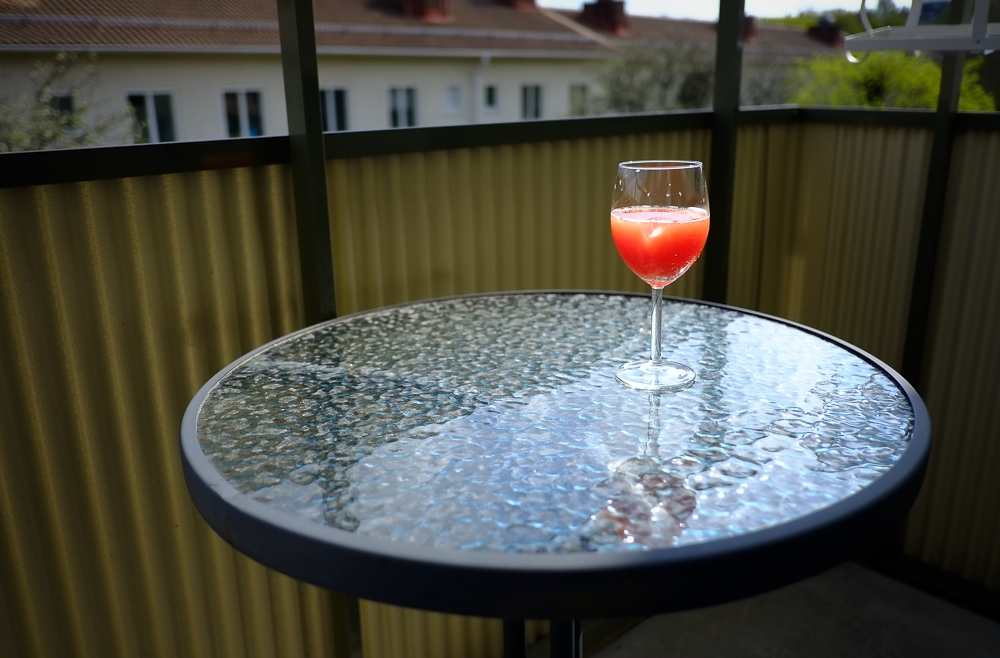 A drink on the balcony