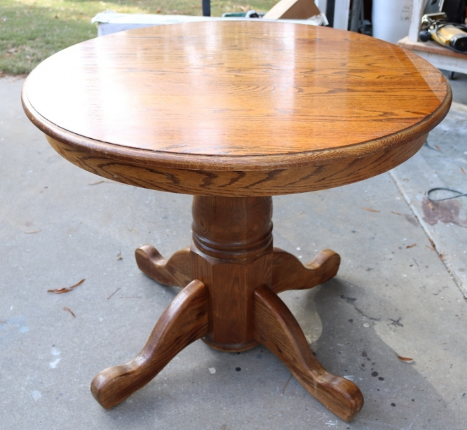 just chairs and tables sonoma outdoor anti gravity chair the breakfast nook table makeover beckwith s treasures normally these oak are around 48 in diameter but this one was only 32 so it is perfect size not finish