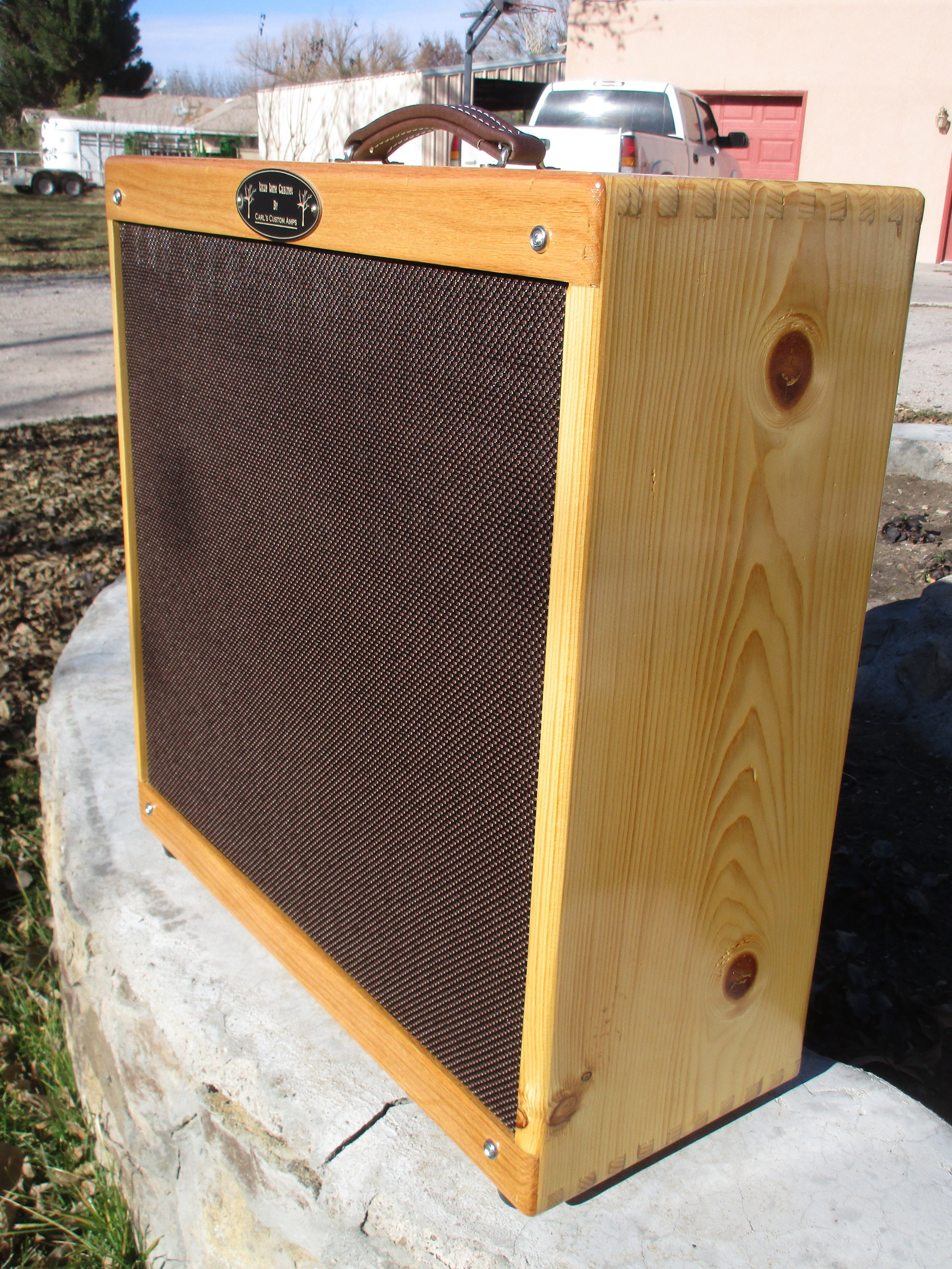 small resolution of here s a 4x10 cab i built for harp player pine and oak with weber 10a125os