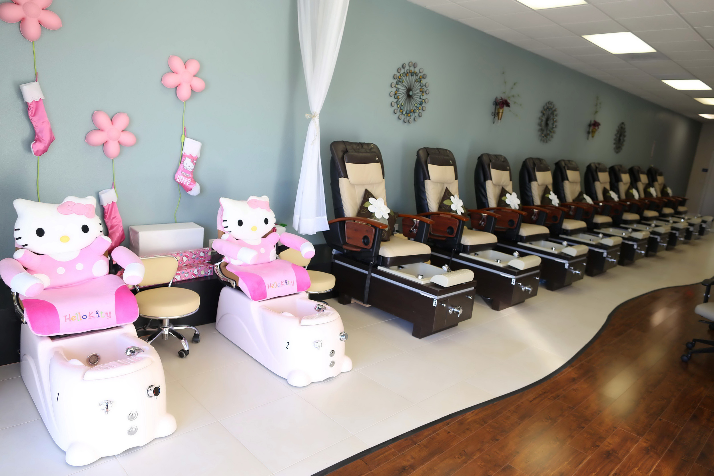 little girl chairs desk chair tall princess treatments perfect 10 nail spa with our packages every has the chance to be pampered special hello kitty kid sized pedicure we re ready treat