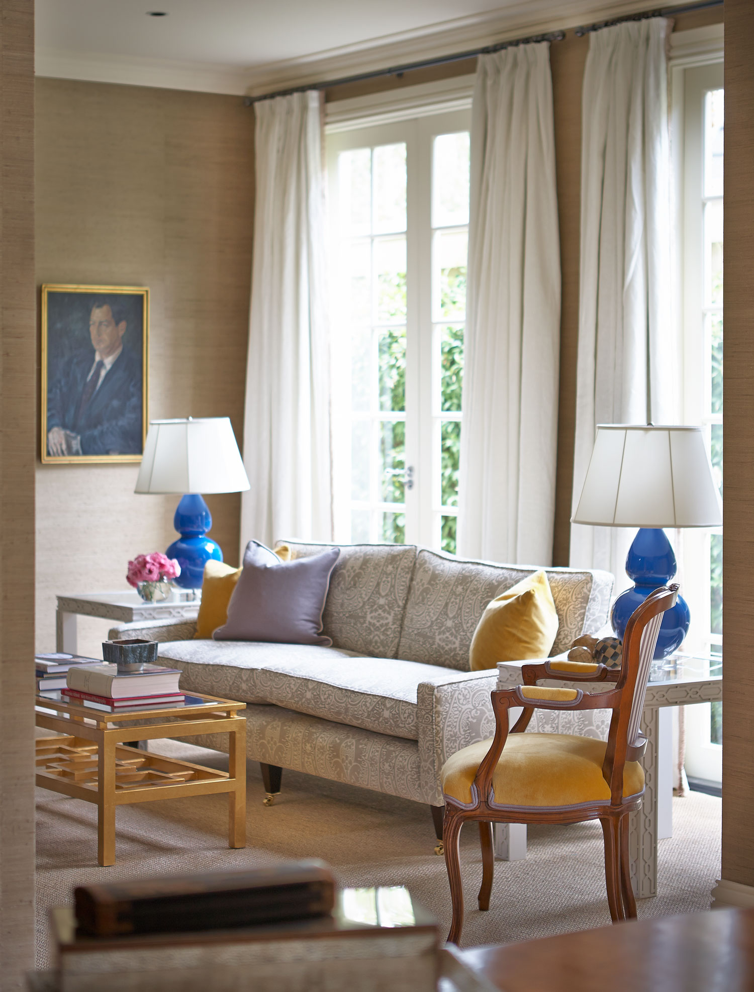 printed fabric sofa designs brown microsuede living room   interior design diane bergeron interiors