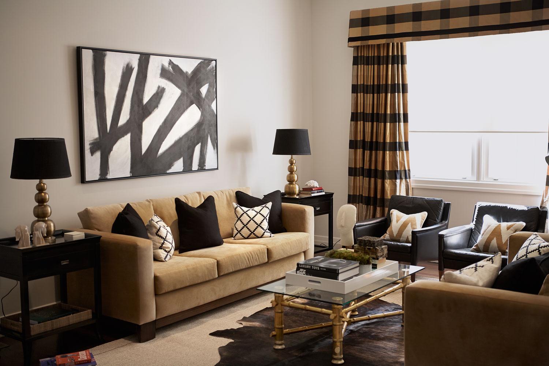 side lamps for living room modern center table interior design diane bergeron interiors camel black plaid window dressing sisal
