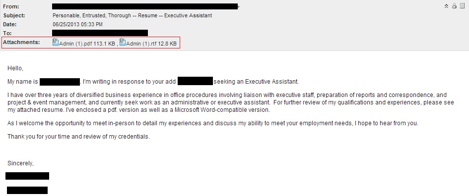 How Send Resume Through Email Sample What Say The Email When