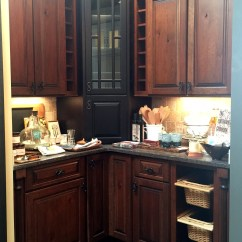 Kitchen Displays For Sale Extendable Table Splash Kitchens Baths Rustic Cherry Cabinets With Black Maple Tower