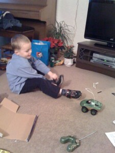 Isaac with his waterproof radio controlled monster truck!
