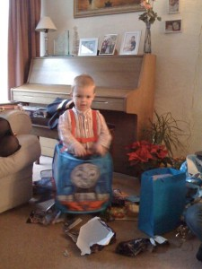 Toby in his starring role as Thomas the Tank Engine