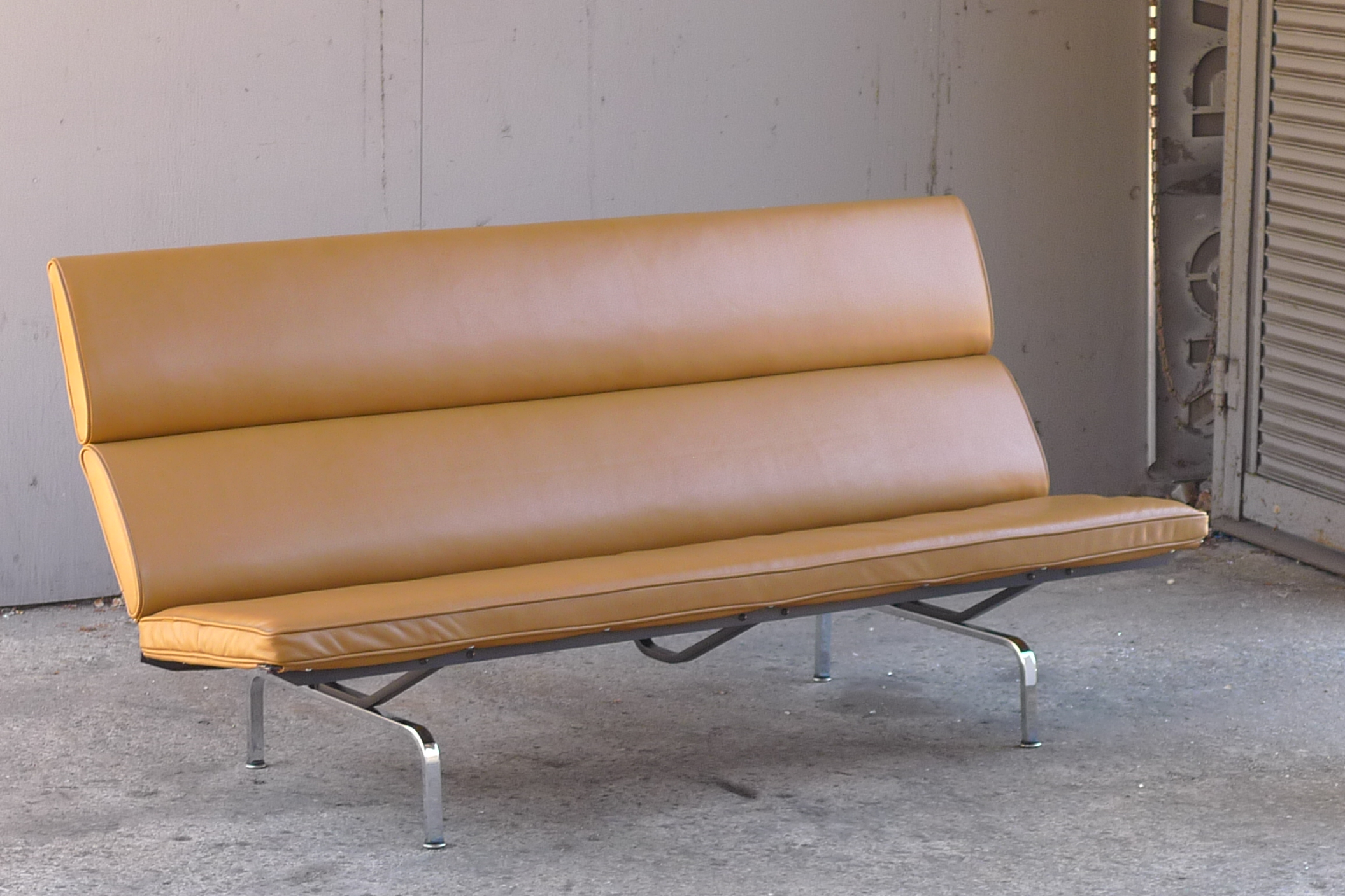 eames sofa compact table with stools underneath charles for herman miller service brown