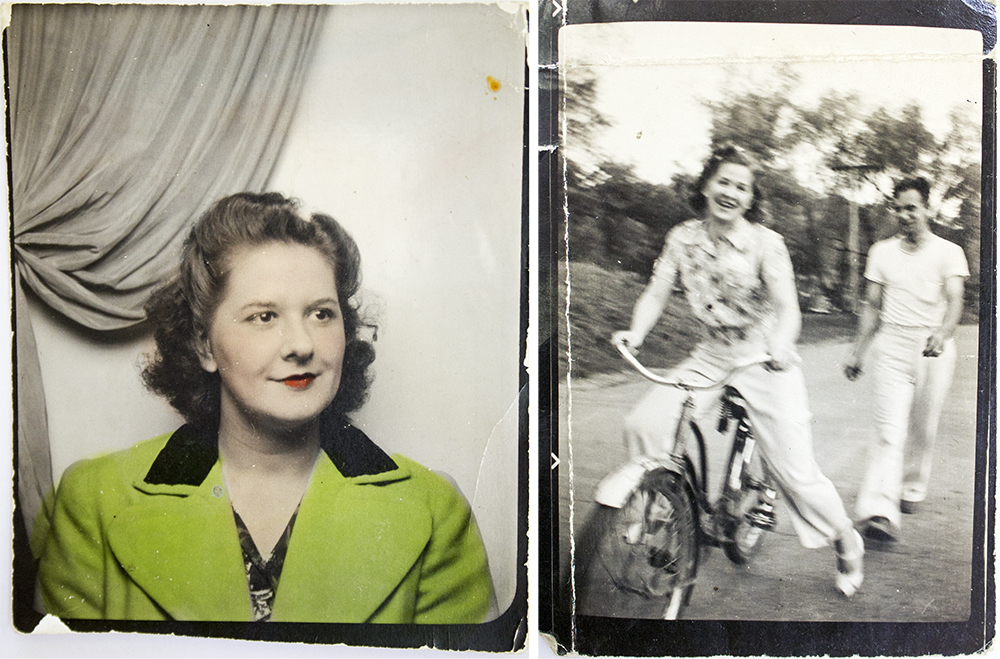 photos Joe carried of his wife, my Aunt Ann, with him into war. Both taken in 1943 and are absolutely tiny in scale.