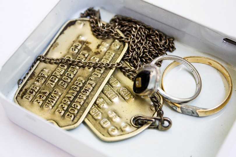 Uncle Joe passed in 2008, Aunt Ann a few weeks after him. I was never able to find his dog tags until last month. I found them in an old mint tin with their wedding rings.