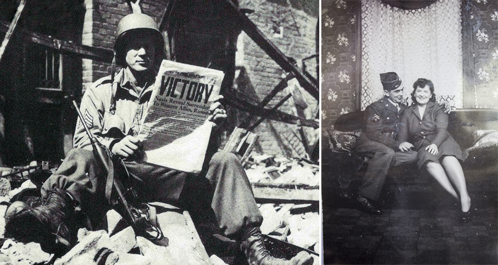 Right: This 17th Airborne trooper reads the good news on the Star and Stripes journal: the war in Europe is over! On May 8, 1945, the 17th Airborne Division closes its European campaign with a heavy price for victory (National Archive). Left: Joe and Ann.